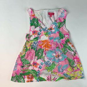 Lilly Pulitzer Womens A Line Top Pink Floral Pleat